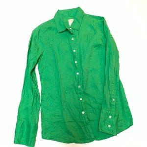 J Crew Green Linen 4 The Perfect Shirt Button Down